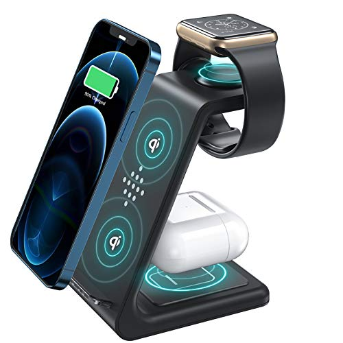 3 in 1 Wireless Charger, Upgraded 15W Fast Wireless Charing Stand, Qi-Certified, Overvoltage Protection, Wireless Charging Station for Apple Watch , Airpods 2/Pro, iPhone 12/11, Qi Enabled Phones