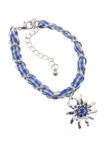 Schöneberger Trachten Couture Trachtenarmband Edelweiss Gliederkette Klassik - elegante und traditionelle Gliederkette/Armband für Dirndl und Lederhose (blau/weiss)