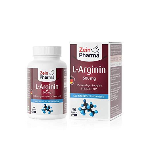 L-Arginina 500mg di ZeinPharma • 90 capsule (fornitura per 2 settimane) • per il trattamento dietetico della disfunzione vascolare • Fatto in Germania