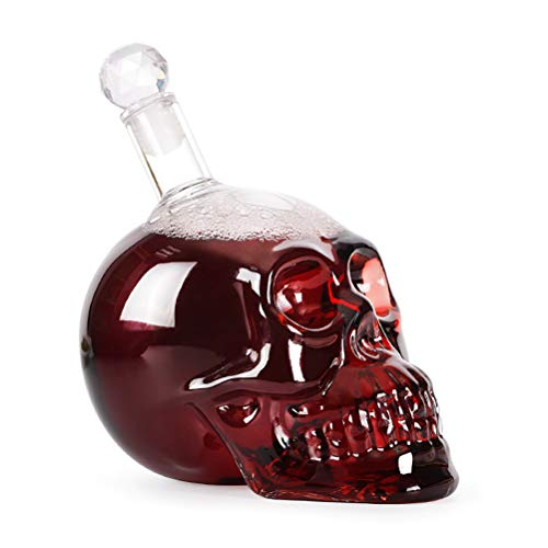 Kylewo 1000ml Totenkopf-Karaffe aus Glas, Glaskaraffe, Karaffe, transparent für alkoholische und Nicht alkoholische Getränke, Fassungsvermögen