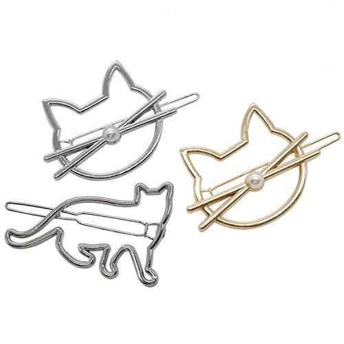 3 Stück Katze Kitty Neuheit Haarspangen Katze Haarspangen mit Perle für Frauen und Mädchen gelten für Party und Freizeit