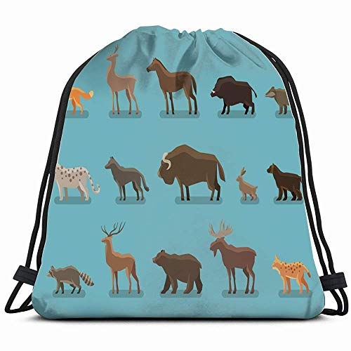 Animals Icons Wild Boar Bear Fox Wildlife Signs Symbols Drawstring Bag Backpack Gym Dance Bag Reversible Flip Sequin Bling Backpack for Hiking Beach Travel Bags