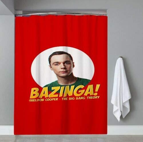 FANG2018 Nueva Big Bang Theory Bazinga Show de TV Cortina de Ducha Personalizada Cortina de Ducha para baño Accesorios de Tela duraderos creativos con 12 Ganchos 180X180CM