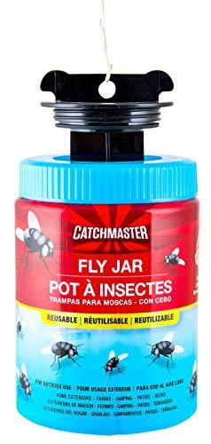 Catchmaster Profi Fliegenfalle | für Schwarze Fliegen, Schmeißfliegen, Aasfliegen | Wiederverwendbar | organischer Lockstoff | Nachfüllbar (2 Köder)