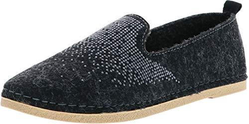 inblu Damen Espadrilles Hausschuhe Slipper schwarz/grau, Größe:42, Farbe:Grau