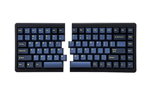 Mistel BAROCCO MD770 RGB Wired + Wireless Bluetooth TKL Split Mechanical Keyboard with Cherry MX Red Switch, Ergonomic Gaming Keyboard, Yellow Letter Glaze Blue PBT DoubleShot Keycaps, Macro Support