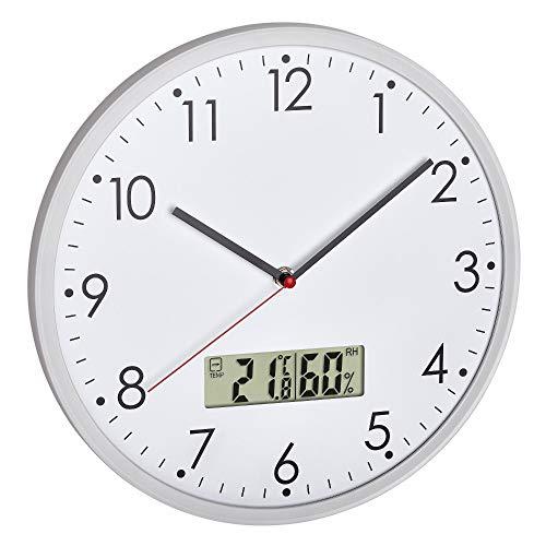 TFA Dostmann 60.3048.02 Analoge Wanduhr mit digitalem Thermometer und Hygrometer, zur Raumklimakontrolle, Glas, transparent, Ø 302 (Weiss mit Batterien)