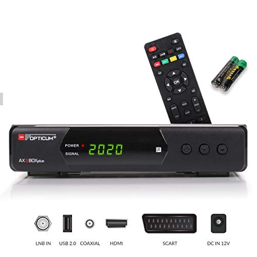 Opticum SBOX Plus HDTV Sat-Receiver, Mediaplayer, 1080P Full-HD Digital Mini TV-Receiver für Satelliten, HDMI, SCART, UNICABLE, COAXIAL, USB, DVB-S DVB-S2, 12-Volt Anschluß, mit Anadol HDMI Kabel