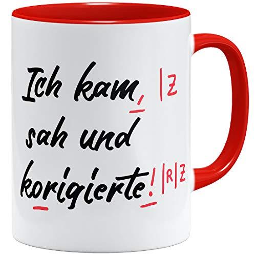 OM3® lustige Lehrer Tasse | Keramik Becher | 11oz 325ml | Beidseitig Bedruckt | Rot