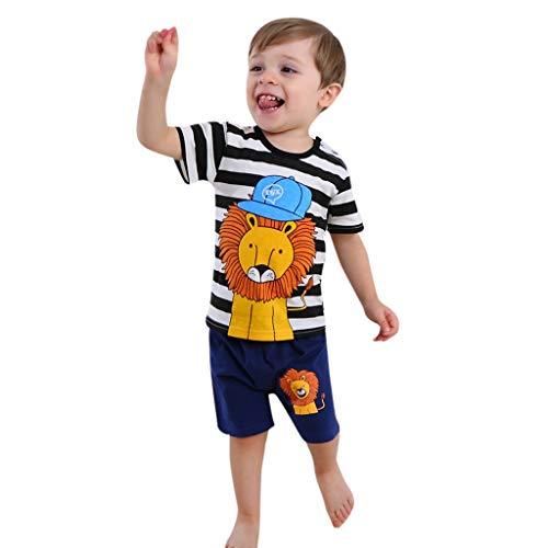 Obestseller Jungenbekleidung,Kinder Bekleidungsset,Infant Baby Boy Streifen Cartoon gedruckt Kurzarm Shirt + Shorts Outfit Set,Zweiteiliges Set