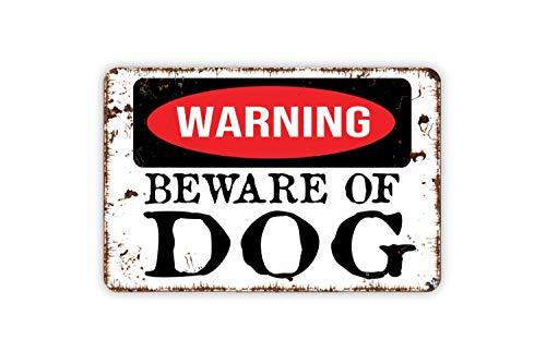 Lionkin8 Cartel de aluminio con texto en inglés 'Warning Beware Of Dog' para pared, 20,3 x 30,5 cm