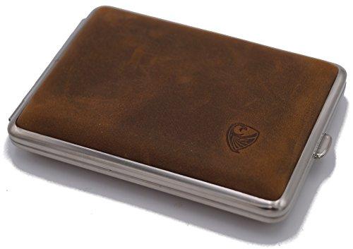 GERMANUS Zigarettenetui, Wildes Rind, handgefertigt, braun, 85 mm, Größe Mittel