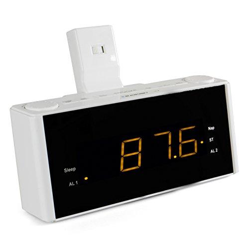 Blaupunkt CLR-P 1800 Projektionswecker, UKW PLL Radiowecker Projektion, 2 Weckzeiten, LED Wecker Digital, Sleeptimer, Snooze Funktion, Stereo Lautsprecher, Uhrenradio, weiß