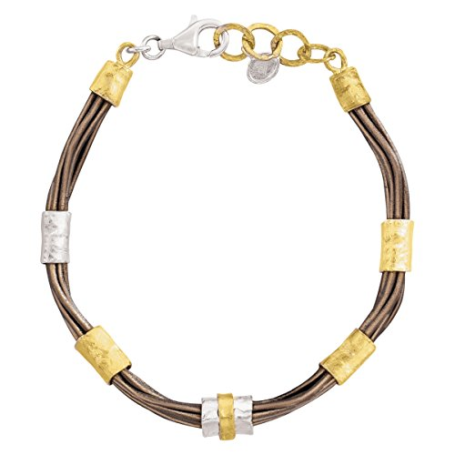 """Silpada 'Tan Lines' Sterling Silver, Brass, and Genuine Leather Link Bracelet, 7"""" + 1"""" Extender"""