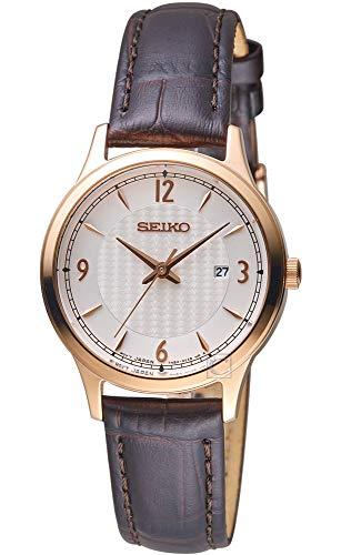 Seiko Damen Analog Quarz Uhr mit Leder Armband SXDG91P1