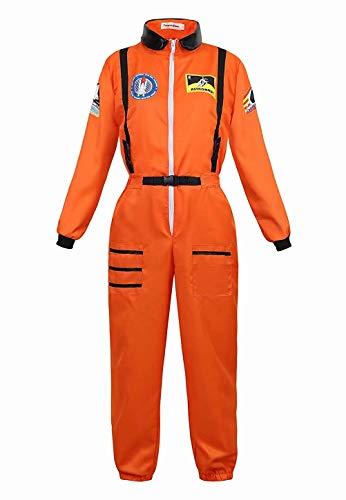 Josamogre Deguisement Astronaute Adulte Costume Halloween Cosplay pour Femme Espace Mission Cosmonaute Orange S