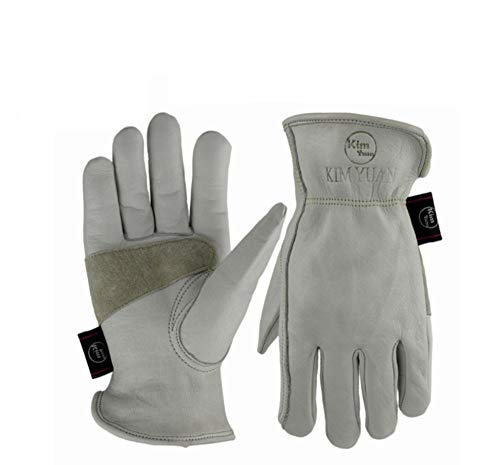 Leather Work Gloves with Palm Elastic Wrist for Gardening,Yard Work, Farm, Construction, Warehouse, Motorcycle, Men and Women,M