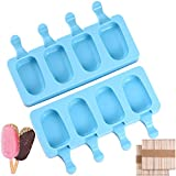 Popsicle Molds Silicone Ice Pop Molds BPA Free Pack of 2x4 Mini Ice Pop Maker Cakesicle Mold with 100 Wooden Sticks for DIY Ice Cream, Oval