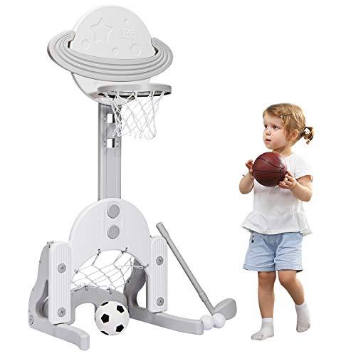 COSTWAY 3 in 1 Kinder Spielplatz, höhenverstellbarer Basketballkorb & Fußballtor & Golf, Basketballständer inkl. Bälle und Golf Club, Korbanlage für Kinder ab 3 Jahren (Weiß)