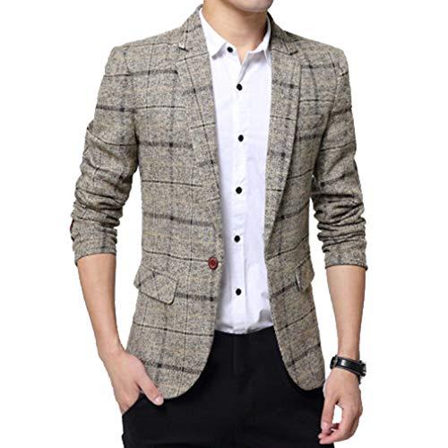 ShiFan Giacca Blazer A Quadri Uomo Classica One Button Elegante Cappotto Vestito di Affari
