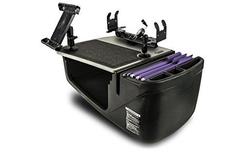 AutoExec AUE09100 Efficiency GripMaster Auto-Schreibtisch, graues Finish, mit integriertem 200-Watt-Wechselrichter, Telefonhalterung, Druckerständer und Tablet-Halterung