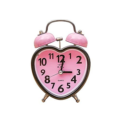 Aiong Despertador, en Forma de corazón Despertador de Campana Doble Sin tictac Despertador de Campana Doble con luz Nocturna