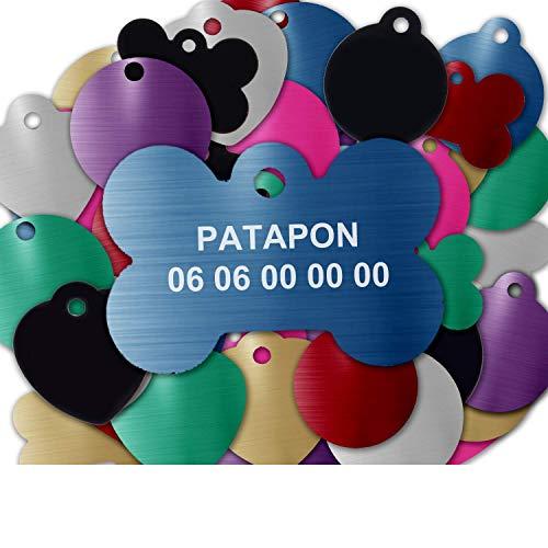 GRAVURE CONCEPT Médaille pour Chien Et Chat À Personnaliser – Médaillon Gravé 31 mm - 1 à 2 Lignes – 8 Couleurs Disponibles (Bleu, Os)