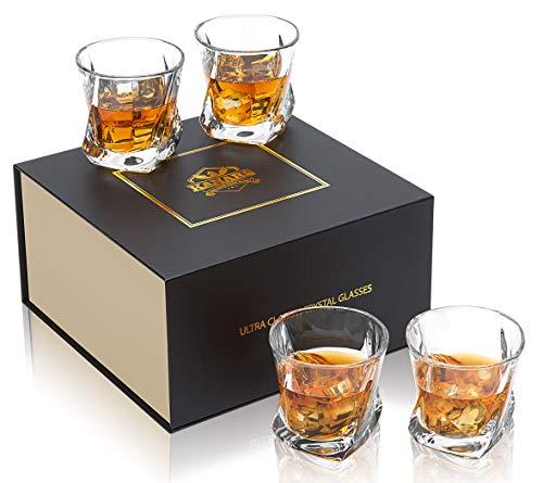 KANARS Vaso de Whisky, Juego de 4 Copas de Whisky Cristal Sin Plomo, 210 ml, 4 Piezas, Caja de Regalo de Lujo