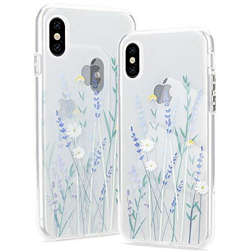 Pepmune Kompatibel mit iPhone Xr Hülle Blumen Muster Transparent Handyhülle Durchsichtig Weich Silikon TPU Bumper Schutzhülle Hülle Cover für iPhone Xr, Lila