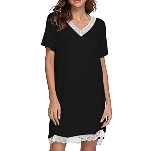 Nightgown Lace Women's Nightdress Summer Thin Section Short Sleeve Modal Cotton Silk Mid-Length Plus-Size Women Dress 2021