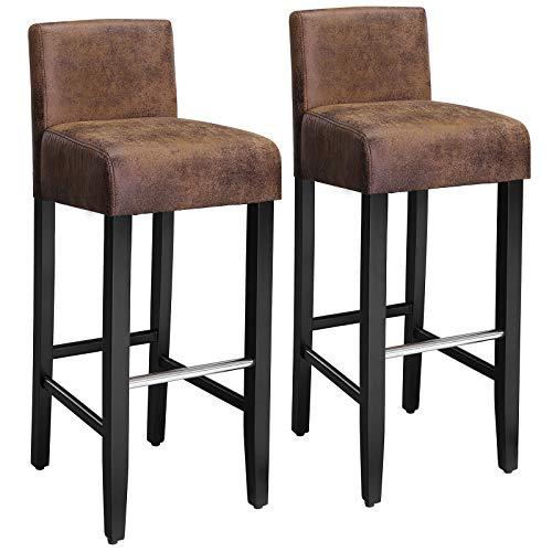 SONGMICS Conjunto de 2 taburetes de bar, Sillas altas con respaldo bajo, Silla acolchada tapizada en PU, Altura del asiento de 76 cm, Patas de madera maciza, con Reposapiés, Marrón y negro, LDC32BR
