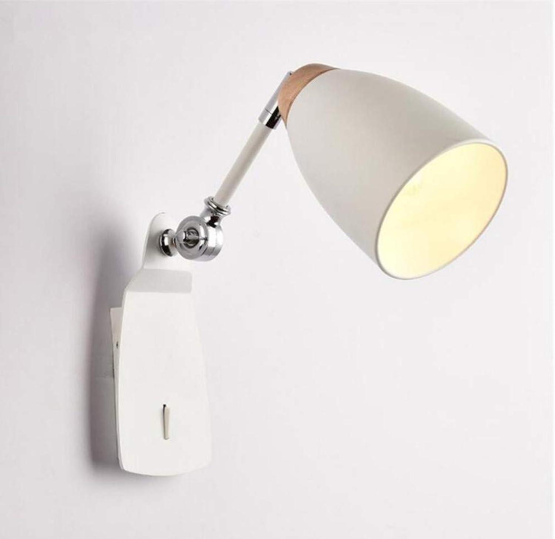 Moderne Wandleuchte Sockel Nachttischlampe Leselampe Sprühfarbe satiniertem Eisen Wandleuchten mit Schalter und Schatten für das Leben einstellbar
