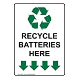 compliancesigns vertical aluminio reciclaje pilas aquí con texto en inglés y símbolo de signo, 14x 10cm, color blanco