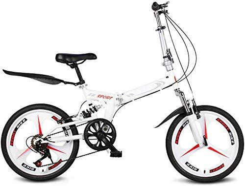 Outdoor Sports - Bicicleta de montaña para adultos de 20 pulgadas, suspensión completa, 6 velocidades, engranajes en V, mordazas, bicicleta de montaña para mujeres y hombres, bicicleta urbana