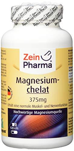 ZeinPharma Magnesiumchelat 375 mg 120 Kapseln (5 Wochen Vorrat) Glutenfrei, vegan, koscher & halal Hergestellt in Deutschland, 122 g