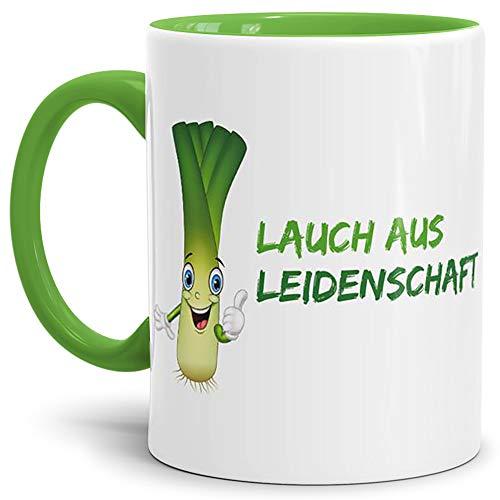 Lauch-Tasse Lauch aus Leidenschaft Innen & Henkel Hellgrün/Lauch/Fun/Lustig/Spruch/Geschenk/Grün/Beste Qualität - 25 Jahre Erfahrung