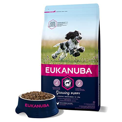 Eukanuba Growing Puppy - Cibo Secco per Cani Cuccioli di Taglia Media (primi 12 Mesi di Vita), Crocchette al Pollo, 3 Kg