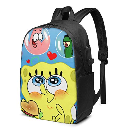 HuangYongHongPODFPO Cartoon Spongebob Squarepants Bubble Laptop Backpack- with USB Charging Port/Stylish Casual Waterproof Backpacks Fits Most 17/15.6 Inch Laptops and Tablets/for Work Travel School