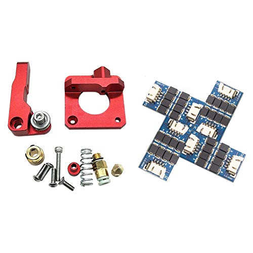 SNOWINSPRING 1Set CR-10 Aluminum MK8 Drive Feed for Creality CR-10, CR-10S & 4Pcs Filter TL-Smoother New Kit Addon Module for 3D Pinter Motor Drivers Use for Delta Kossel, MakerBot Reprap