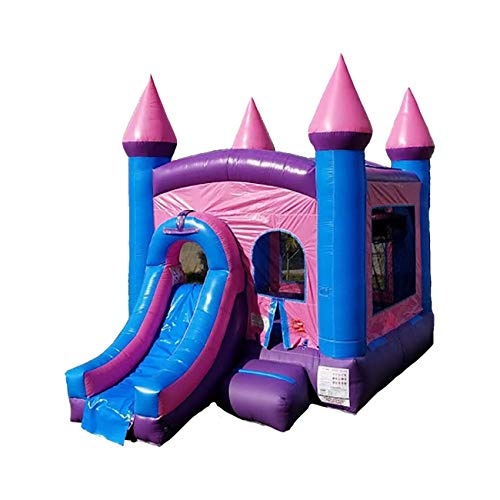 Inflatable Bounce House and Wet / Dry Slide, 12-Foot by 12-Foot Bounce Area, Crossover Pink Castle Combo with Blower, Stakes, Repair Kit, and Storage Bag