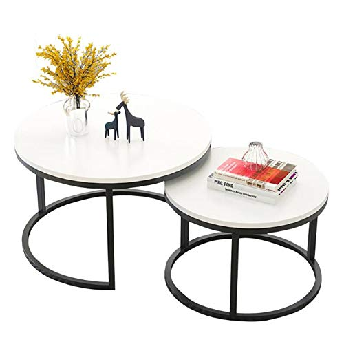 Nesting Tea Table Coffee Tables, 2 Round MDF Top White, with Stacking Metal Frame, for Living Room and Office