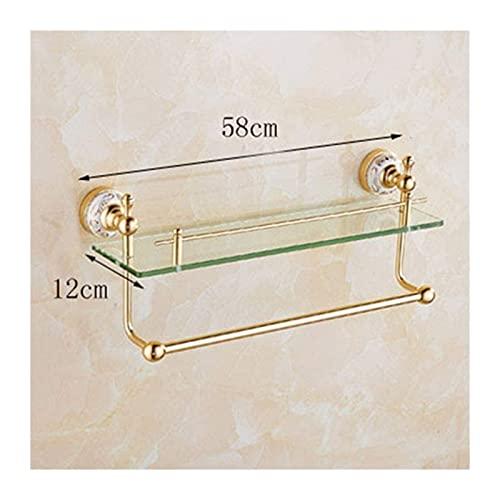 BICCQ Estante de Vidrio para baño, Marco Frontal de Espejo para baño, Estante para baño Individual de 2 Capas, con Postes de conexión de Aluminio, Estante para baño Dorado de Vidrio de 12 cm / 22