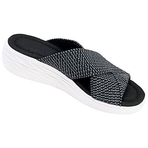 Aniywn Cross Orthotic Slide Sandals,Casual Flip Flops,Non-Slip Platform Slippers,Beach Comfort Support Sandals for Women Black