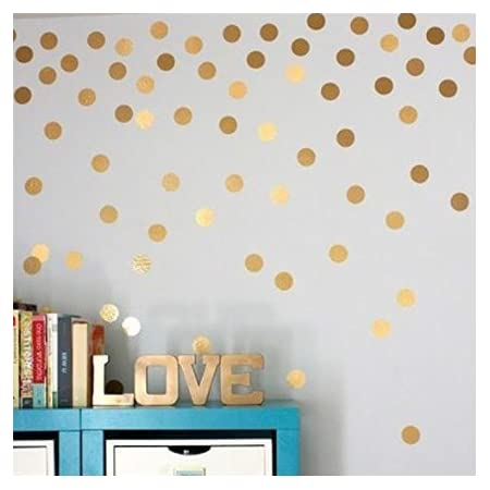 Set of 50 Polka dots 4 in Metallic Gold Silver vinyl wall Decals nursery play school office decoration  bedroom living room wall decal
