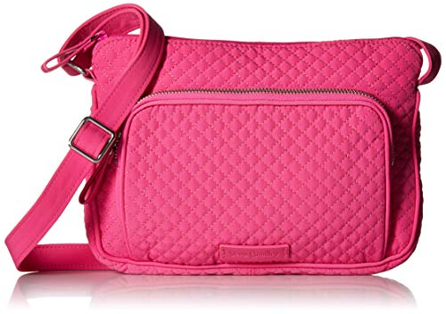 Vera Bradley Women's Microfiber Little Hipster Crossbody Purse with RFID Protection, Rose Petal