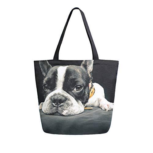ZZKKO - Bolso de lona con diseño de bulldog francés, para llevar...