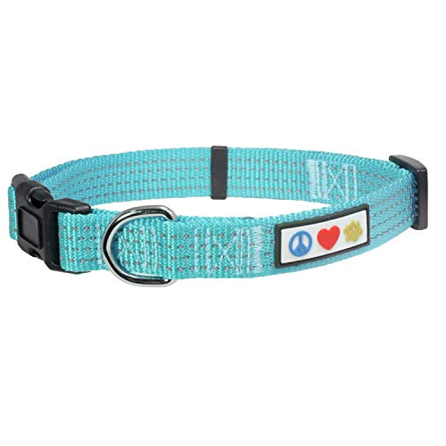 PAWTITAS Reflektierende Hundehalsband Stitching Welpen/Hundehalsband Verstellbare Nylon | Hunde Halsband Atmungsaktives | Reflektierend Halsband für Hund - Blaugrün Hundehalsband Extra Klein Hund