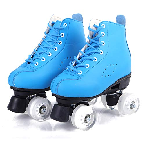 Quad Skates Inline Skates Herren- Und Damen-Skaterschuhe Riemenscheibe Schuhe Für Erwachsene Skates Mit Zweireihigem, Blau,43