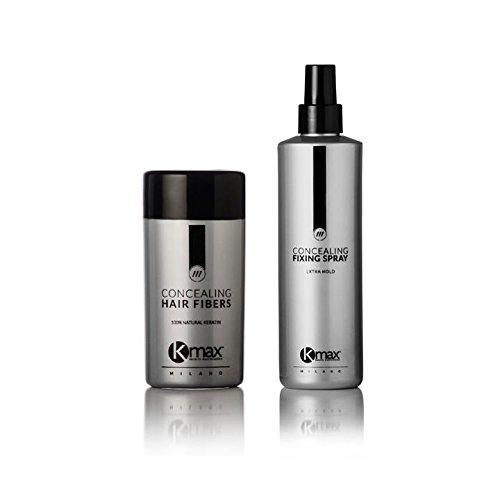 Kmax - Kit Anti Diradamento Capelli, soluzione per caduta capelli: Fibre Capillari 27,5gr + Lacca Fissante 100 ml - Nero