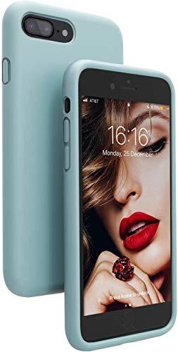 JASBON iPhone 8 Plus Hülle, iPhone 7 Plus Hülle, Silikon Case Handyhülle Schutzhülle Stoßfest Cover für iPhone 7 Plus iPhone 8 Plus Dunkelblau Mintgrun